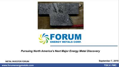 Pursuing North America's Next Major Energy Metal Discovery - Metals Investor Forum, Vancouver, BC - September 7, 2019