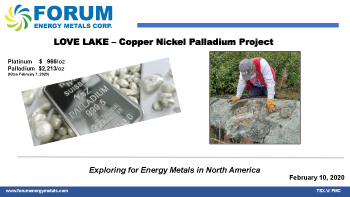 LOVE LAKE - Copper Nickel Palladium Project, February 10, 2020